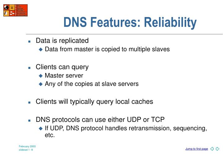 DNS Features: Reliability