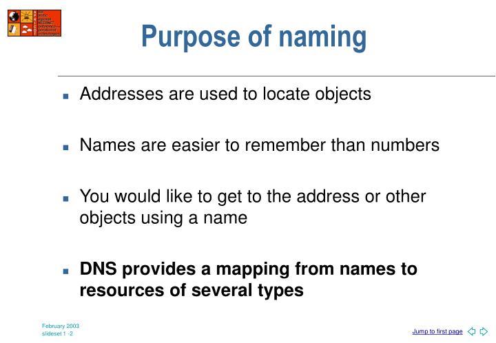 Purpose of naming