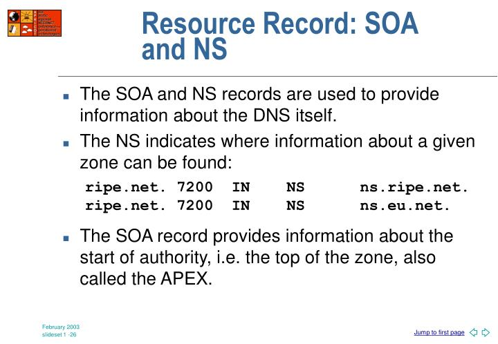 Resource Record: SOA and NS