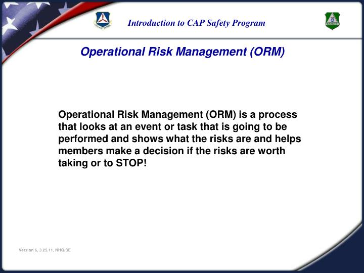 Operational Risk Management (ORM)