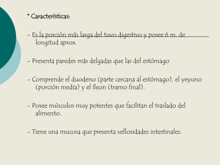 * Características: