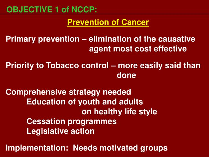 OBJECTIVE 1 of NCCP:
