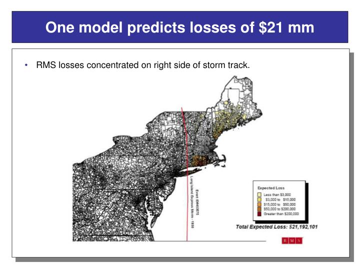 One model predicts losses of $21 mm