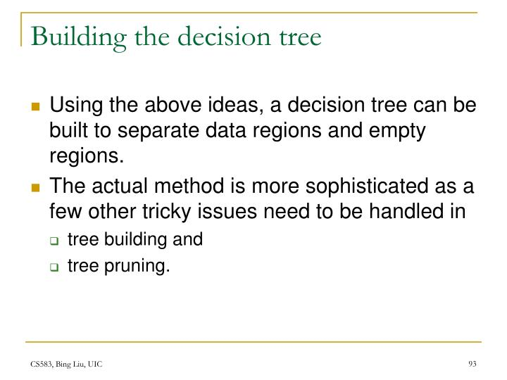 Building the decision tree