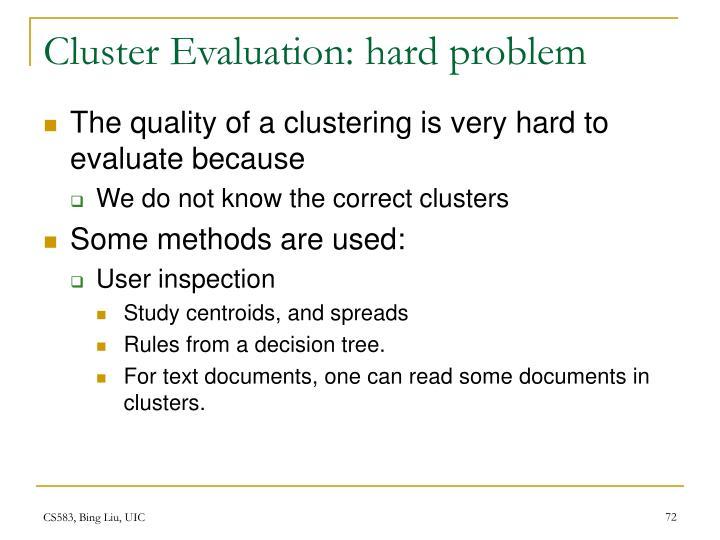 Cluster Evaluation: hard problem