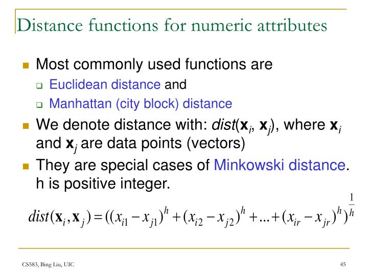 Distance functions for numeric attributes