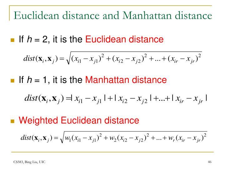 Euclidean distance and Manhattan distance