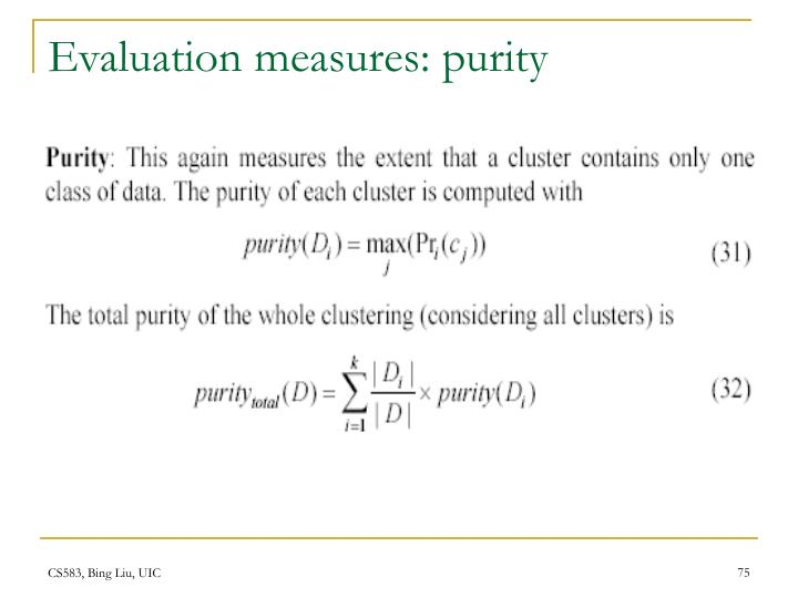 Evaluation measures: purity