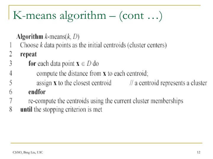 K-means algorithm – (cont …)