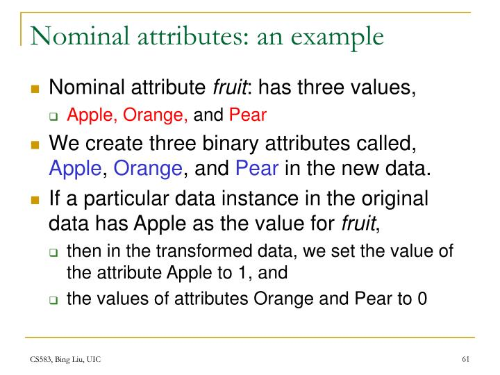 Nominal attributes: an example