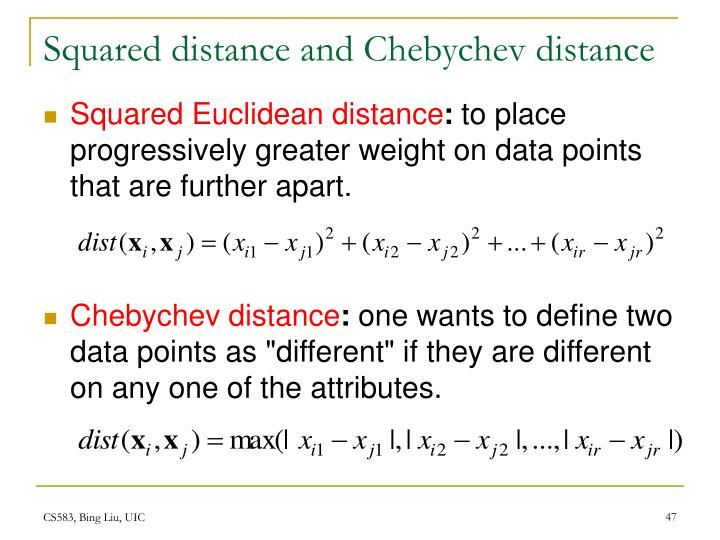Squared distance and