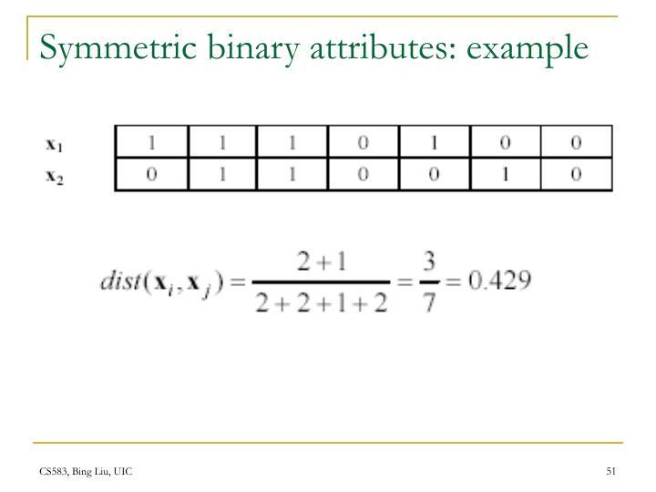 Symmetric binary attributes: example