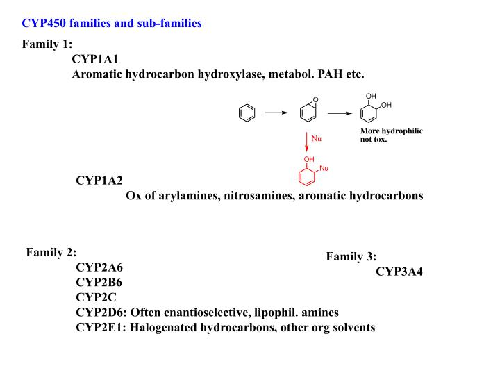 CYP450 families and sub-families