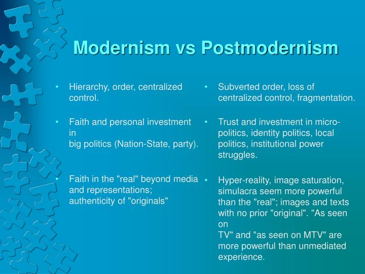 postmodern and hyper reality Modernism and postmodernism comparison and contrast transcript of modernism and postmodernism surrealism or hyperreality maximalism.