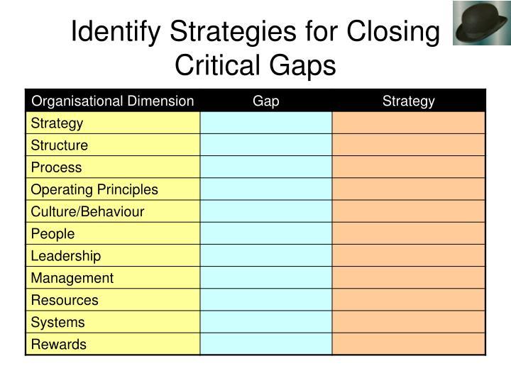 Identify Strategies for Closing Critical Gaps