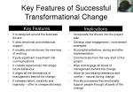 key features of successful transformational change