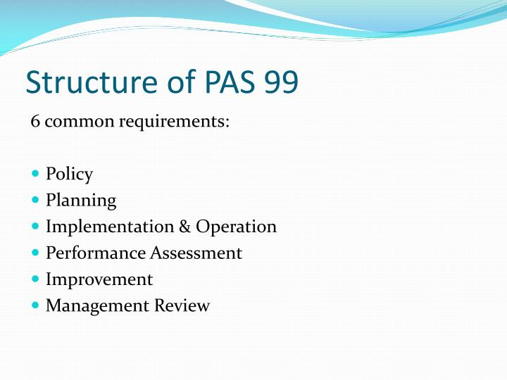 Structure of PAS 99