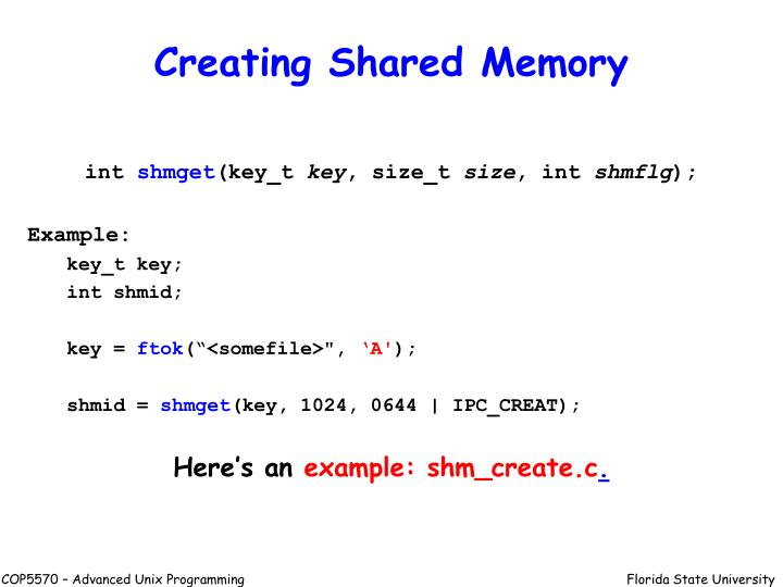 Creating Shared Memory