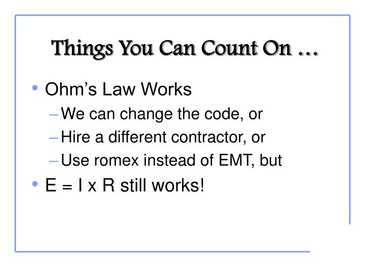 Things You Can Count On …