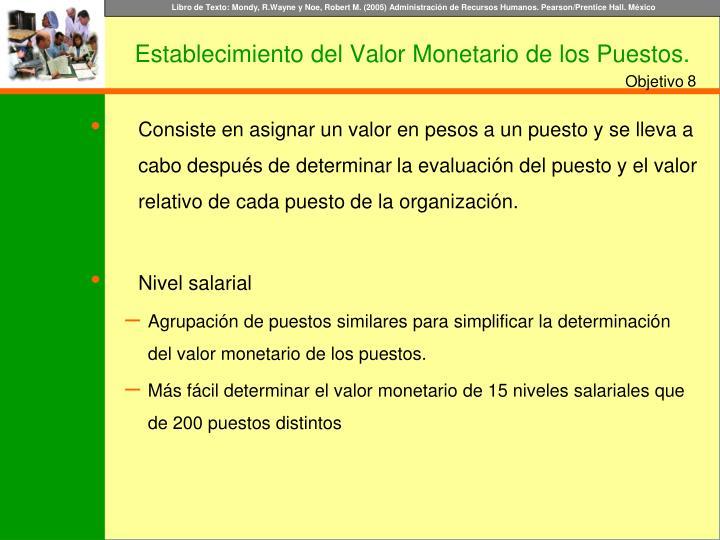 Establecimiento del Valor Monetario de los Puestos.