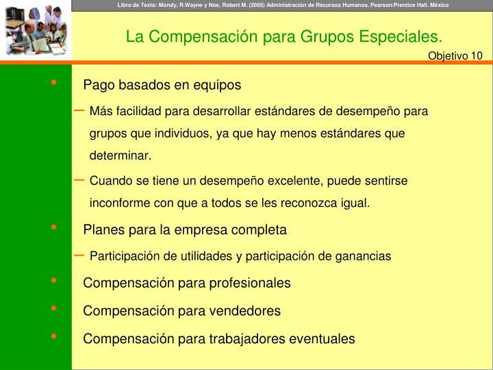 La Compensación para Grupos Especiales.