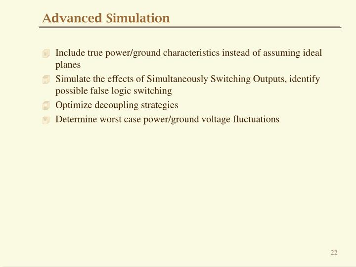 Advanced Simulation