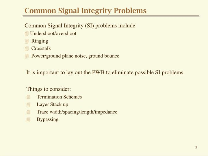 Common Signal Integrity Problems