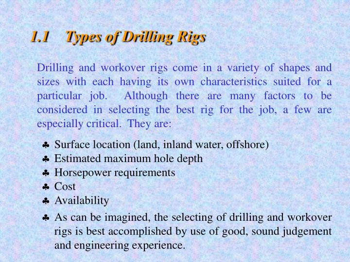 1.1Types of Drilling Rigs