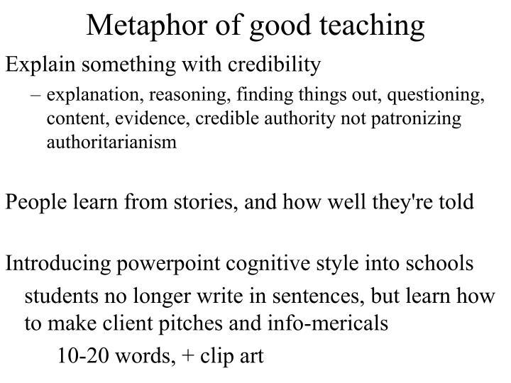 Metaphor of good teaching