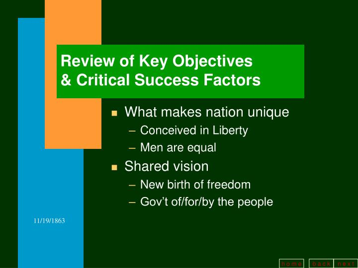 Review of Key Objectives