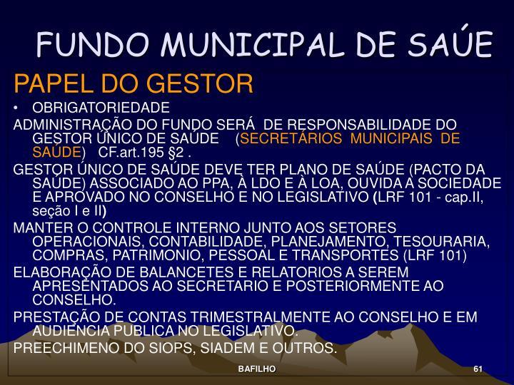 FUNDO MUNICIPAL DE SAÚE