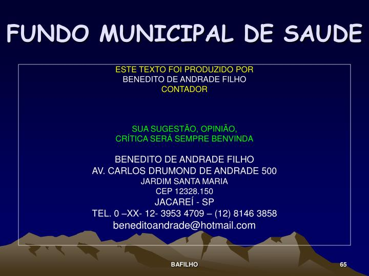 FUNDO MUNICIPAL DE SAUDE