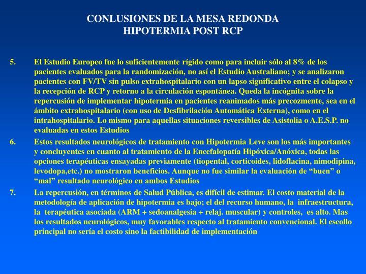 CONLUSIONES DE LA MESA REDONDA