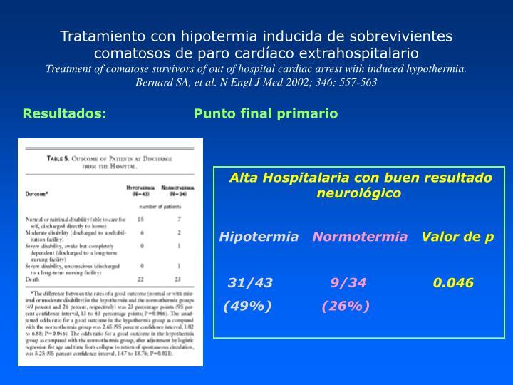 Tratamiento con hipotermia inducida de sobrevivientes comatosos de paro cardíaco extrahospitalario