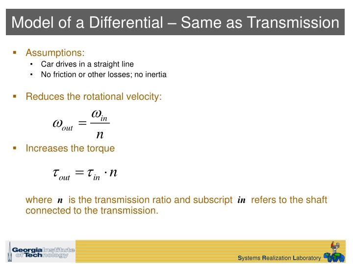 Model of a Differential – Same as Transmission