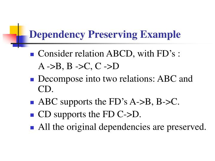 Dependency Preserving Example