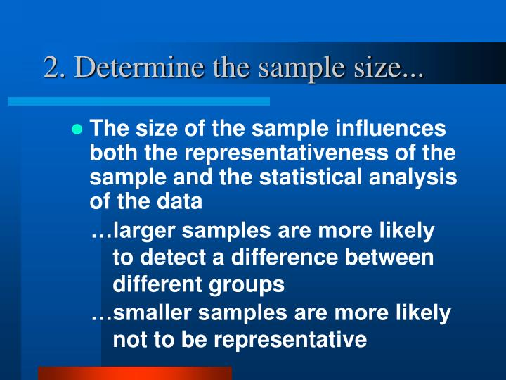 2. Determine the sample size...