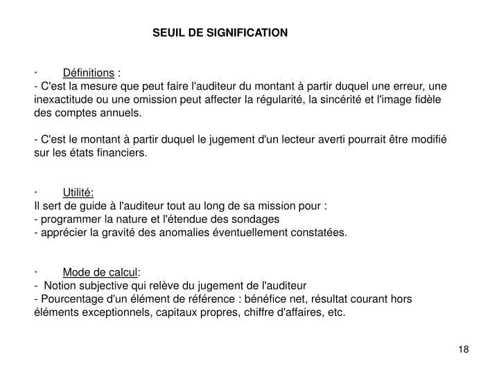 SEUIL DE SIGNIFICATION