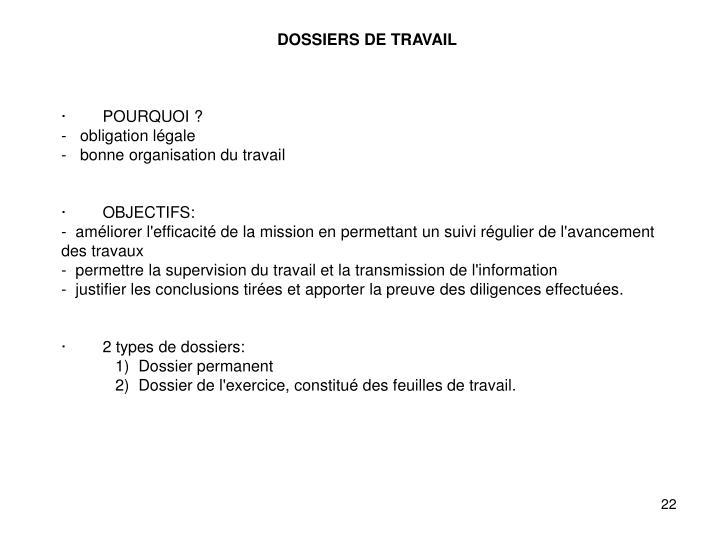 DOSSIERS DE TRAVAIL