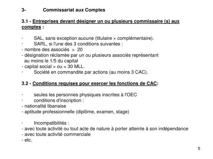 3-Commissariat aux Comptes
