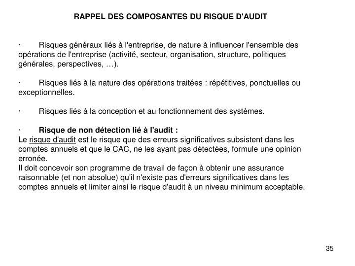 RAPPEL DES COMPOSANTES DU RISQUE D'AUDIT