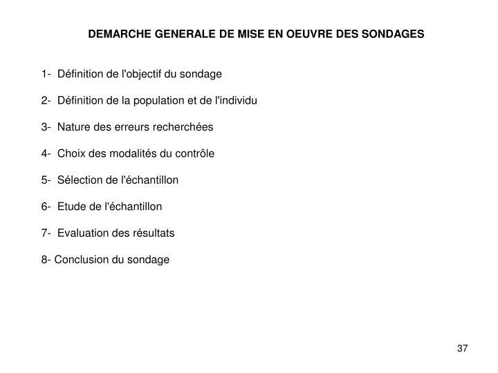 DEMARCHE GENERALE DE MISE EN OEUVRE DES SONDAGES
