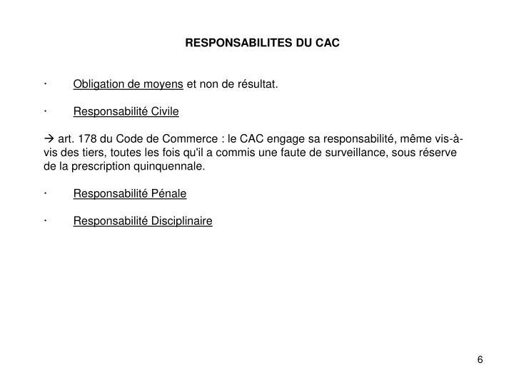RESPONSABILITES DU CAC