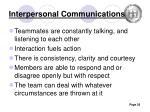 interpersonal communications