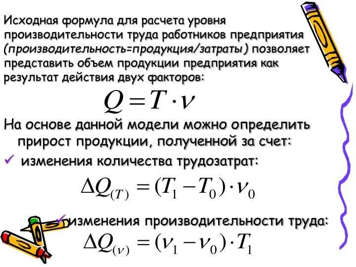 Исходная формула для расчета уровня производительности труда работников предприятия
