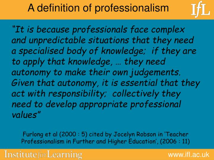 A definition of professionalism