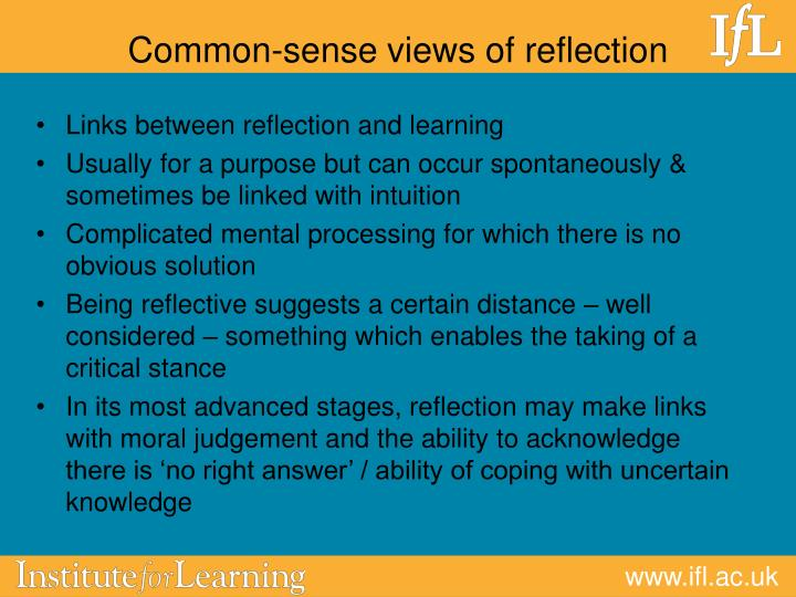 Common-sense views of reflection