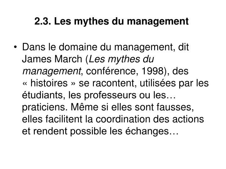 2.3. Les mythes du management