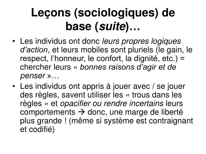Leçons (sociologiques) de base(