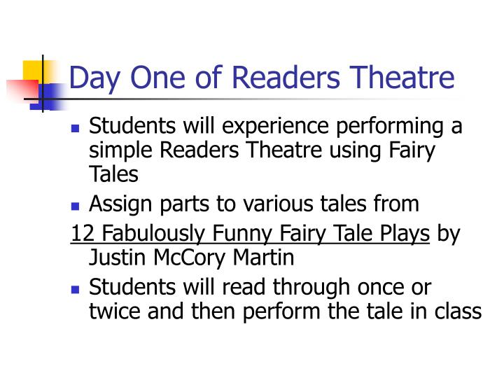Day one of readers theatre